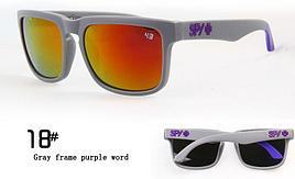 Солнцезащитные очки SPY+ серые с фиолетовым лого