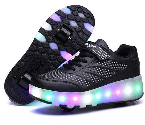 Роликовые кроссовки Aimoge LED Light Black - фото 1