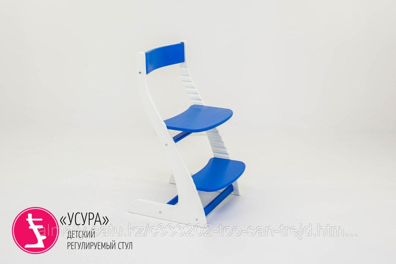 """Детский растущий регулируемый стул """"Усура бело-синий"""""""