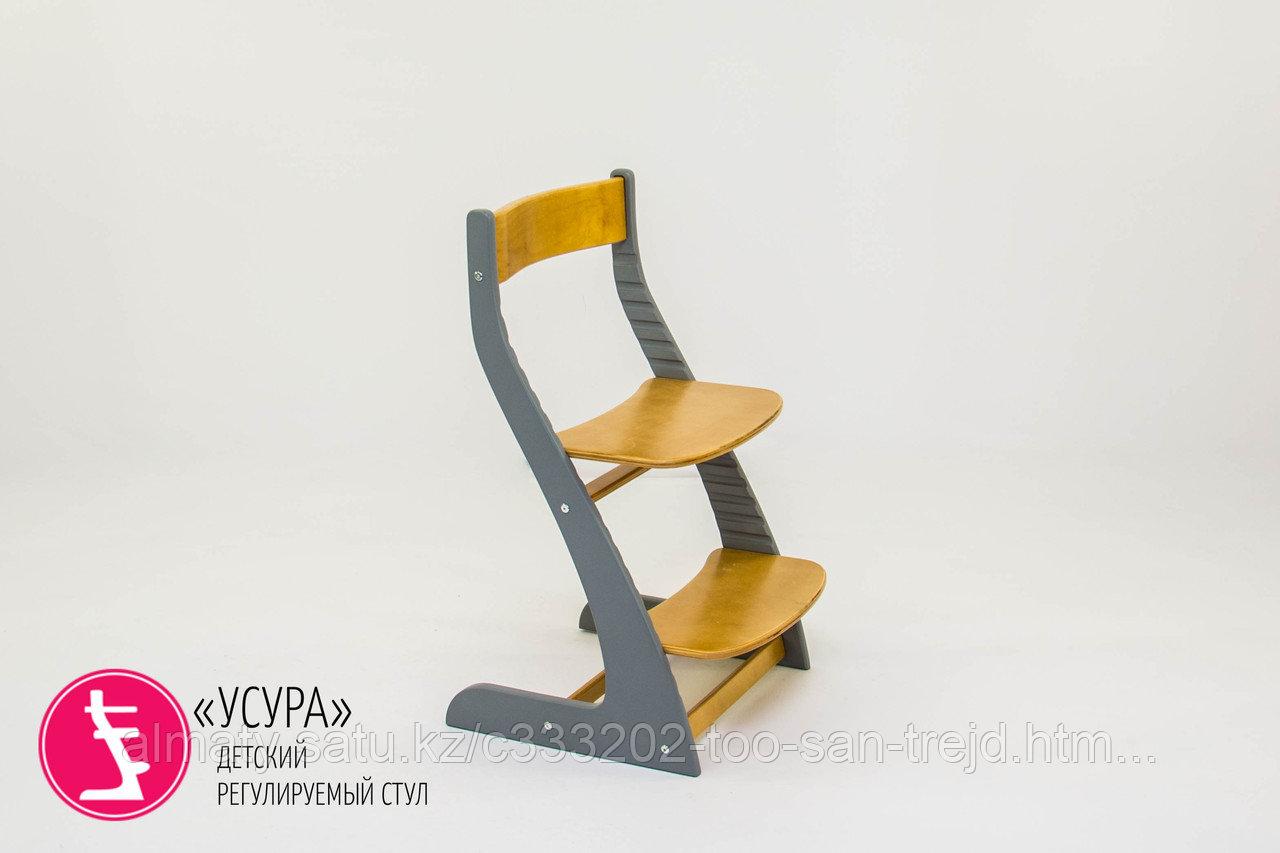 """Детский растущий регулируемый стул""""Усура графит-дерево"""""""