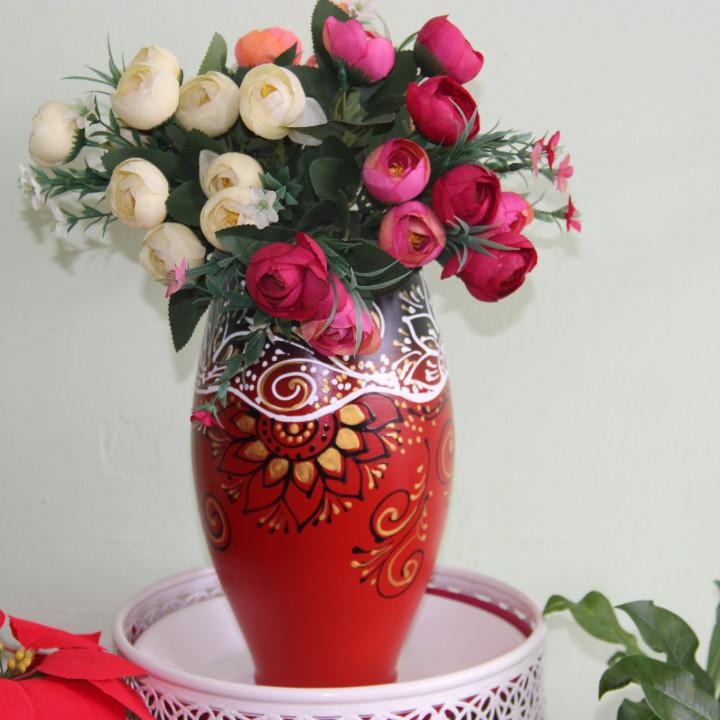"""Керамическая ваза """"Сочетание красного и черного""""30см"""