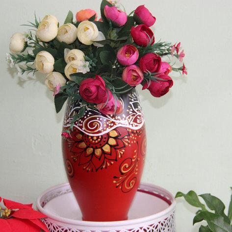 """Керамическая ваза """"Сочетание красного и черного""""30см, фото 2"""