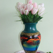 """Керамическая ваза для цветов """" Пейзаж на бирюзе"""",30см"""
