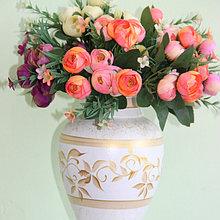 """Керамическая ваза для цветов """"Золотые цветы.""""Высота 20-25 см"""