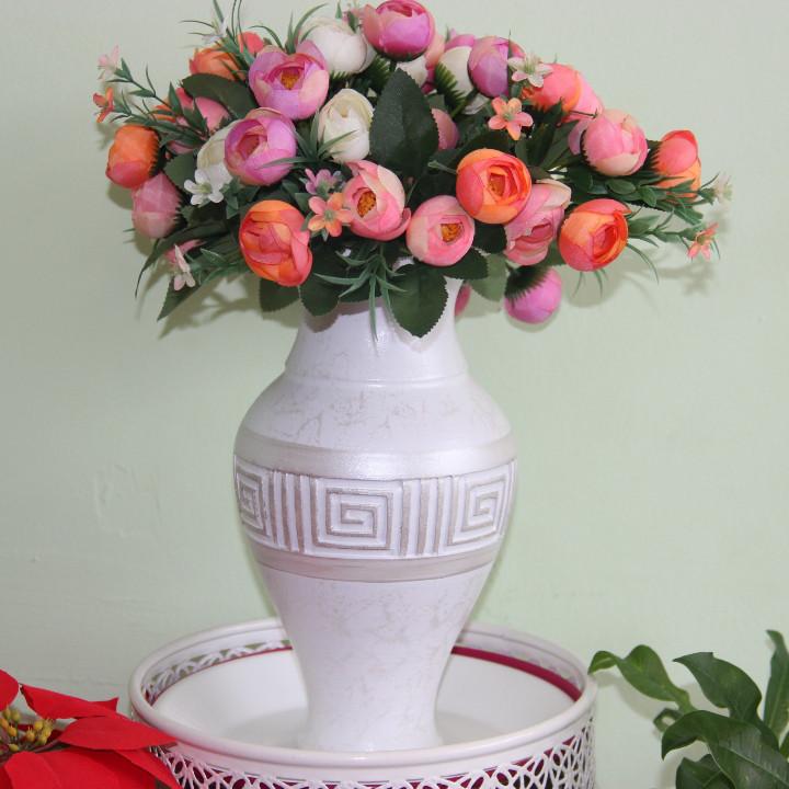 """Ваза керамическая ручной работы для цветов""""Версаче серебро"""" .Высота 20-25 см"""