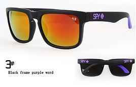 Солнцезащитные очки SPY+ черная оправа фиолетовый лого