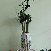 """Керамическая ваза для цветов """"Бамбук на белом.""""Высота 20-25 см"""
