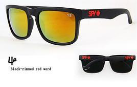 Солнцезащитные очки SPY+ черная оправа, красный лого, желтые линзы