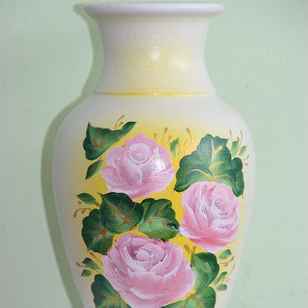 """Керамическая ваза для цветов """"Розовые розы."""" 20-25 см, фото 2"""