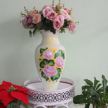 """Керамическая ваза для цветов """"Розовые розы."""" 20-25 см"""