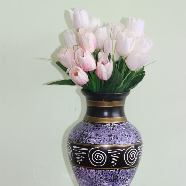 """Керамическая ваза для цветов ручной работы """" Мрамор фиолетовый с узором"""" ,20-25 см"""