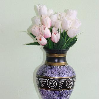 """Керамическая ваза для цветов ручной работы """" Мрамор фиолетовый с узором"""" ,20-25 см, фото 2"""