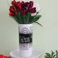 """Керамическая ваза для цветов ручной работы """"Абстракция черное на белом."""",20-25 см .Цилиндрической формы"""