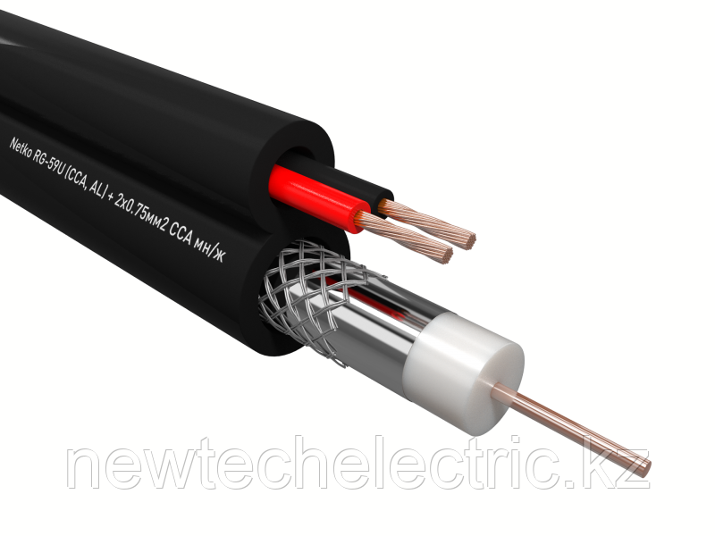 Кабель коаксиальный 3C-2V, 75 Ом (CU, оплетка 32 нити AL) + кабель питания 2x0.5мм (CU, одножильный), аналог ККСВ, белый