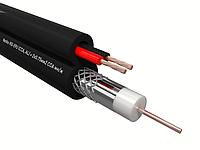 Кабель коаксиальный RG-59U, 75 Ом (CCA, оплетка 32 нити AL) + кабель питания 2x0.75мм2 (CCA, многожильный), аналог КВОС, внутренний, черный, фото 1