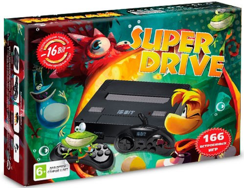 Игровая Приставка Sega Super Drive Rayman (166-in-1) Black