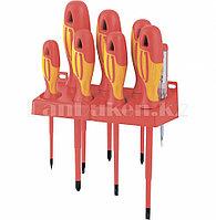 Набор отверток диэлектрических до 1000В, тестер, CrMo, двухкомпонентные рукоятки (8шт.) 12950 (002)