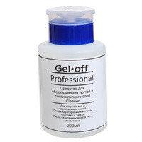 Средство для обезжиривания ногтей и снятия липкого слоя Gel*off Cleaner Professional 200 мл с помпой