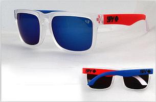 Солнцезащитные очки SPY+ прозрачные, синяя дужка справа, красная дужка слева, черное лого , фото 2