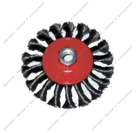 (39115) Корщетка-колесо с наклоном 115 мм витая, гайка М 14