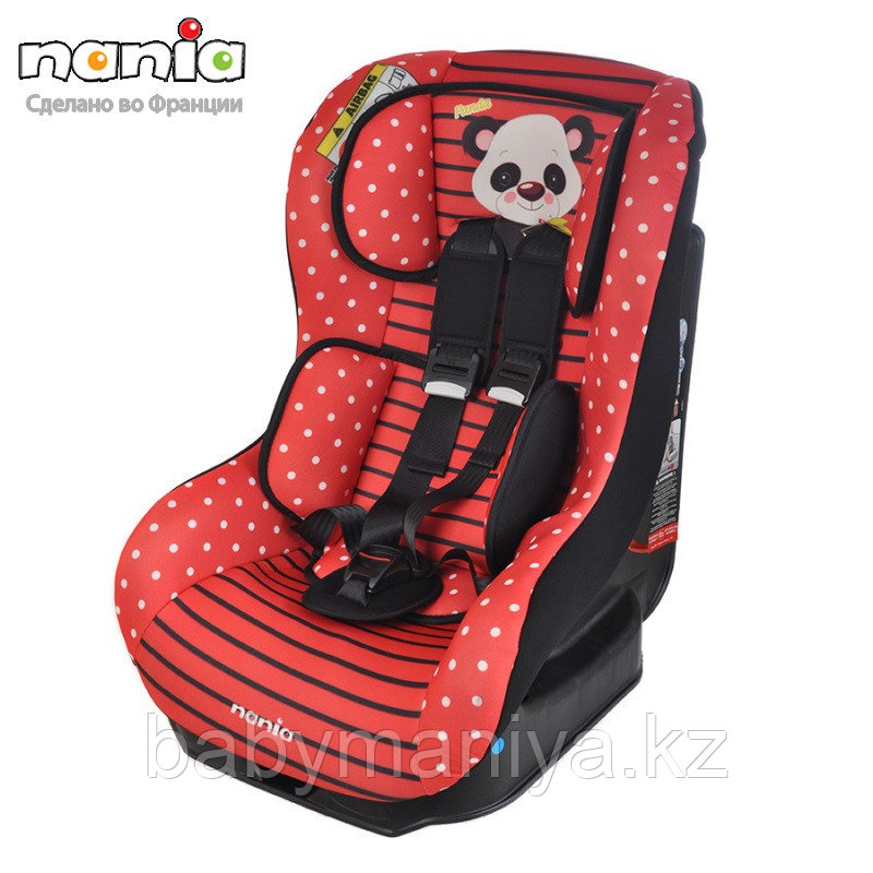 Автокресло NANIA DRIVER 0-18кг ANIMALS Panda red