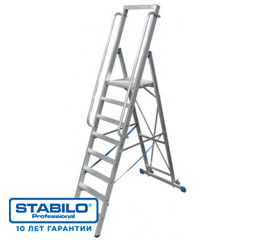 Лестница-стремянка, оборудованная большой площадкой и поручнем 6 ступ. KRAUSE STABILO