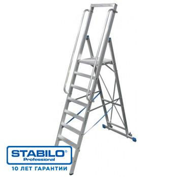Лестница-стремянка, оборудованная большой площадкой и поручнем 8 ступ. KRAUSE STABILO