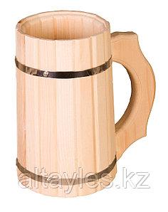 Пивная кружка из кедра 1 л (для пива и кваса, для бани и сауны)