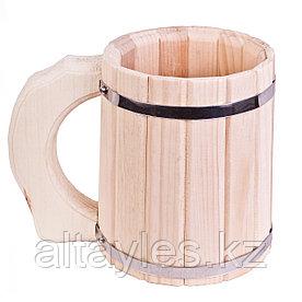 Пивная кружка из кедра 0,5 л (для пива и кваса, для бани и сауны)