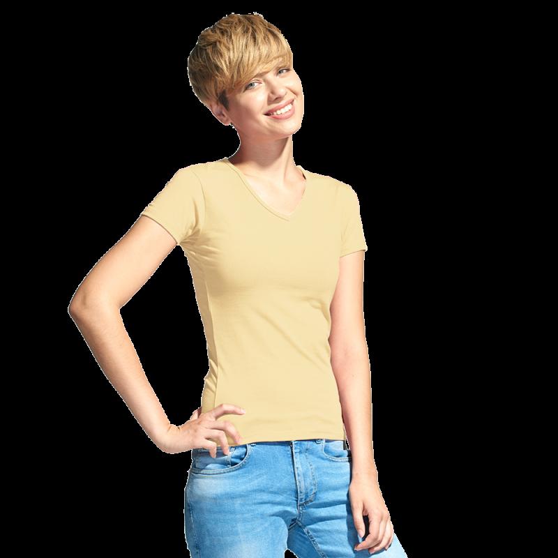 Женская футболка-стрейч с V-воротом, StanVictoryWomen, 07W, Бежевый (54), M/46