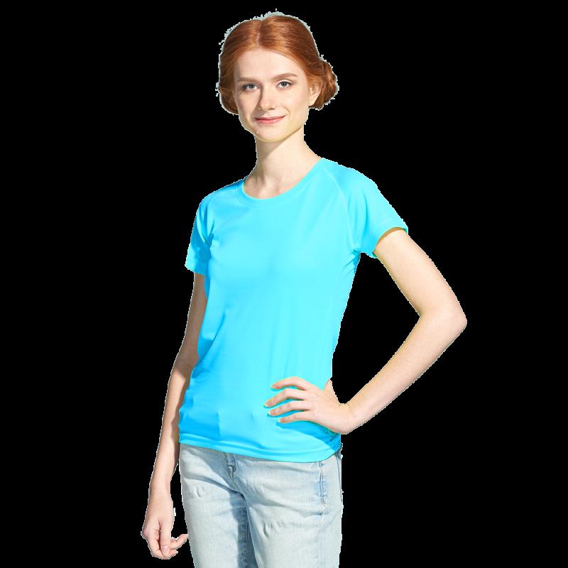 Женская спортивная футболка, StanPrintWomen, 30W, Бирюзовый неон (132), XXL/52