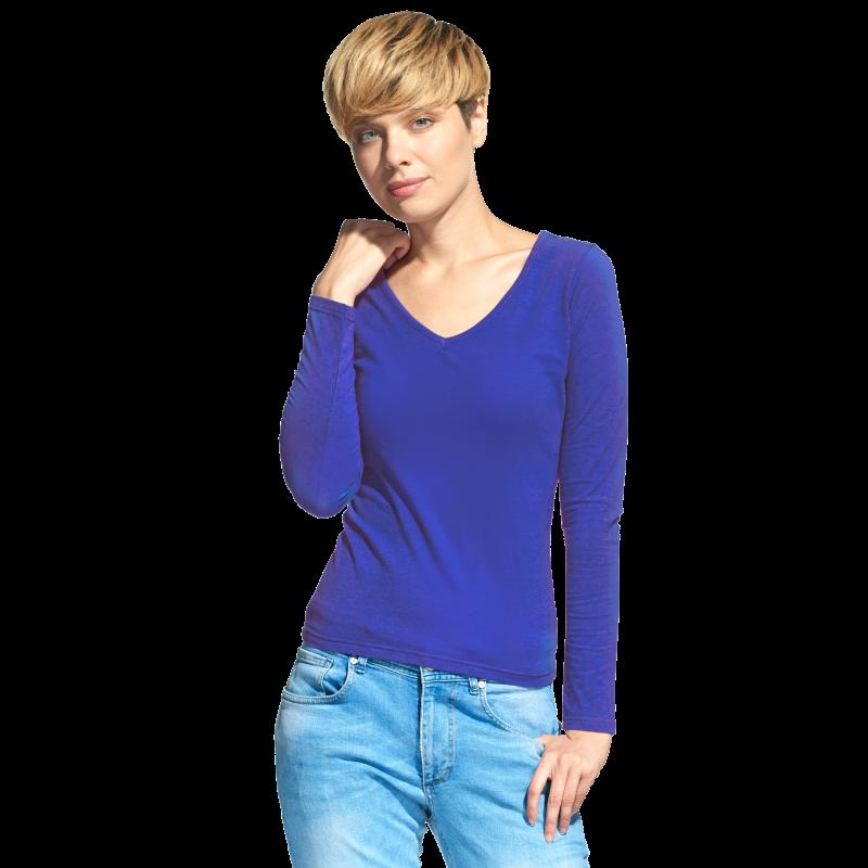 Женская футболка с длинным рукавом, StanFashion, 32, Синий (16), XXL/52