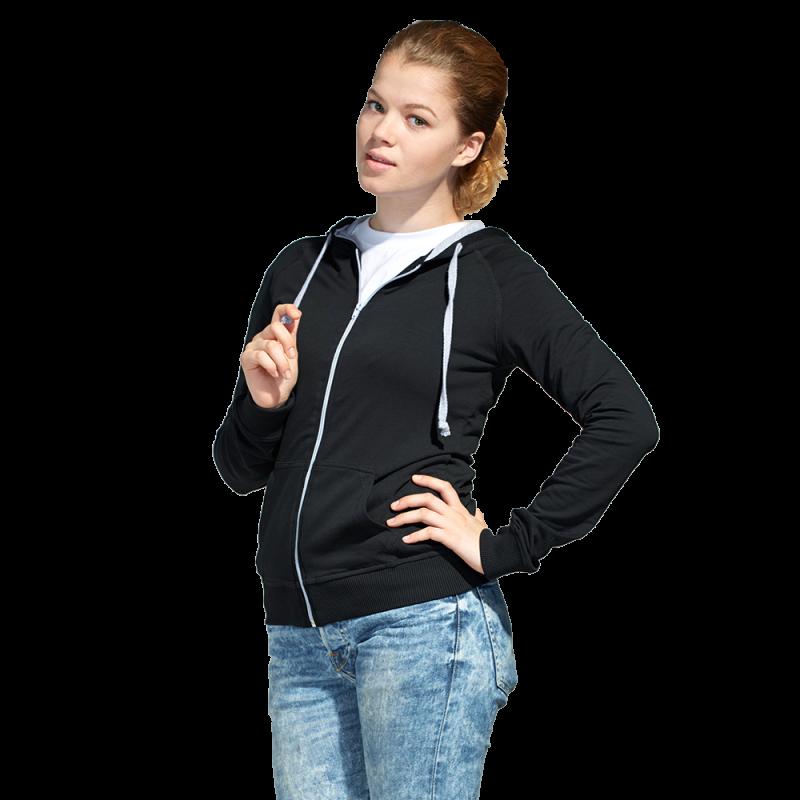 Легкая женская толстовка с капюшоном, StanCoolWomen, 61W, Чёрный (20), S/44