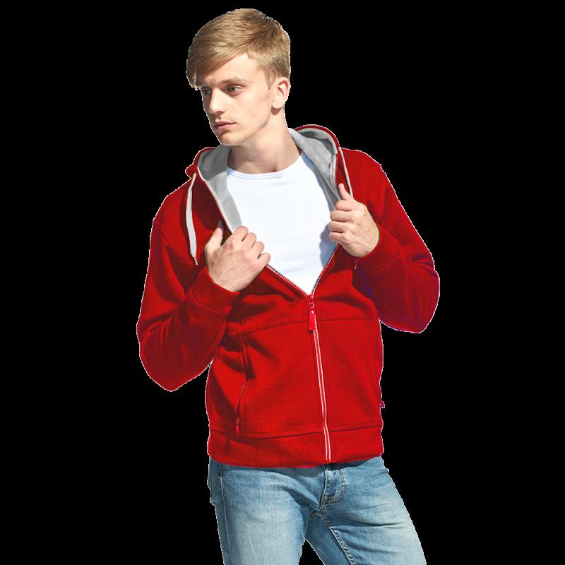 Мужская двухцветная толстовка с капюшоном, StanWinner, 18, Красный (14), XL/52