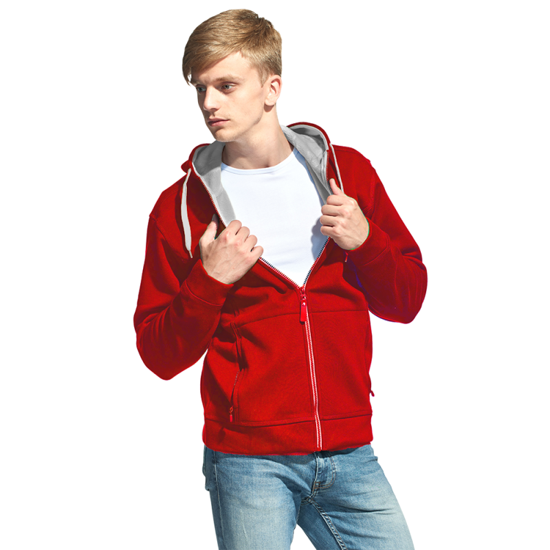 Мужская двухцветная толстовка с капюшоном, StanWinner, 18, Красный (14), XXXL/56