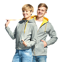 Мужская двухцветная толстовка с капюшоном, StanWinner, 18, Серый меланж (50), XXXL/56