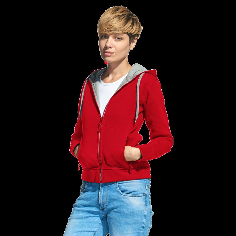 Женская двухцветная толстовка с капюшоном, StanElite, 19, Красный (14), XL/50