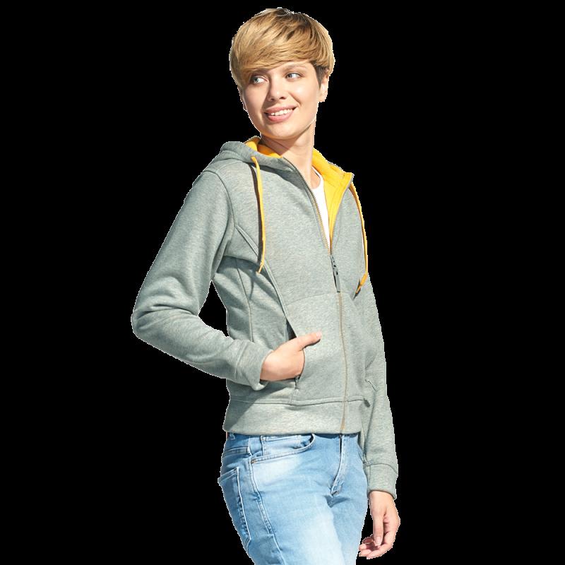 Женская двухцветная толстовка с капюшоном, StanElite, 19, Серый меланж (50), M/46