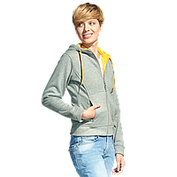Женская двухцветная толстовка с капюшоном, StanElite, 19, Серый меланж (50), XS/42