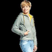 Женская двухцветная толстовка с капюшоном, StanElite, 19, Серый меланж (50), XXL/52