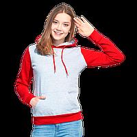 Женская толстовка «кенгуру» с капюшоном, StanFreedomWomen, 20W, Серый меланж-Красный (50/14), XL/50