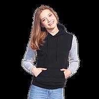 Женская толстовка «кенгуру» с капюшоном, StanFreedomWomen, 20W, Чёрный-Серый меланж (20/50), XL/50