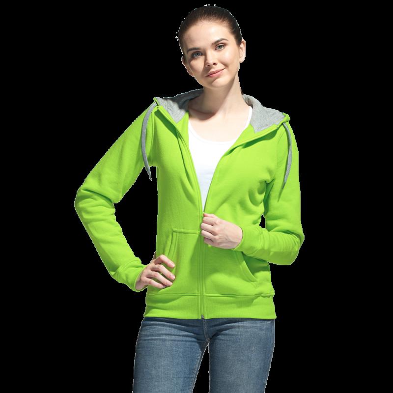 Толстовка женская , StanStyleWomen, 17W, Ярко-зелёный-Серый меланж (26/50), XL/50