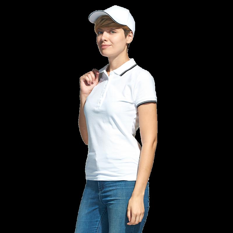 Рубашка поло с контрастной отделкой, StanTrophyWomen, 04BK, Белый (10), L/48