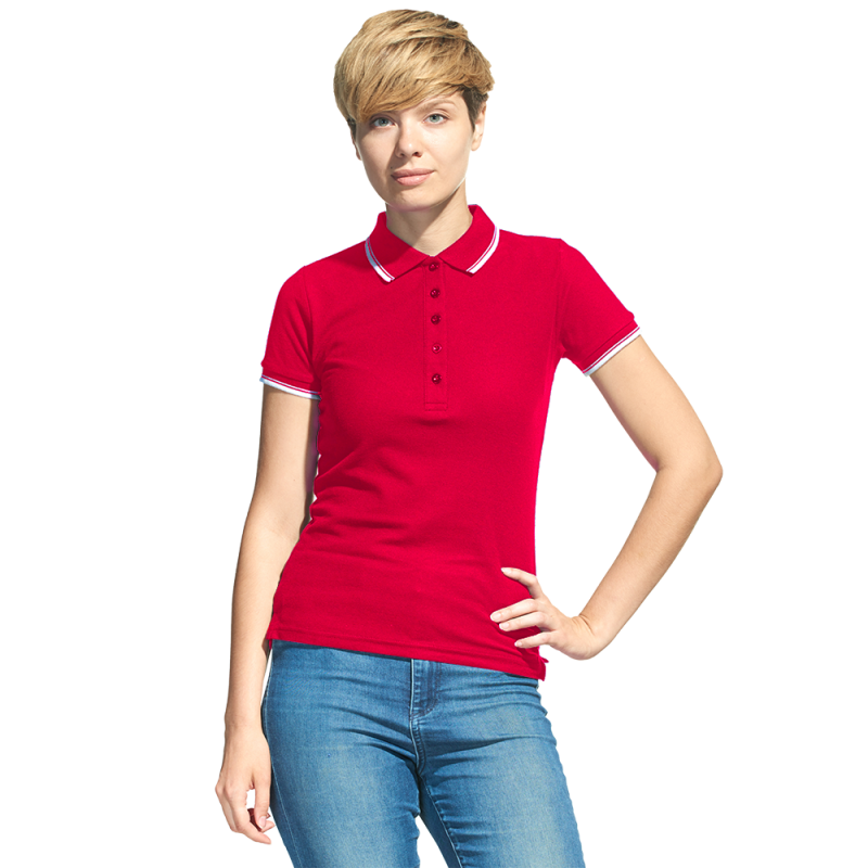 Рубашка поло с контрастной отделкой, StanTrophyWomen, 04BK, Красный (14), L/48