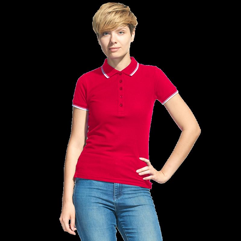 Рубашка поло с контрастной отделкой, StanTrophyWomen, 04BK, Красный (14), M/46