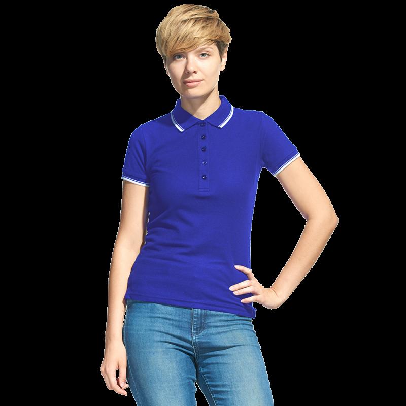 Рубашка поло с контрастной отделкой, StanTrophyWomen, 04BK, Синий (16), M/46