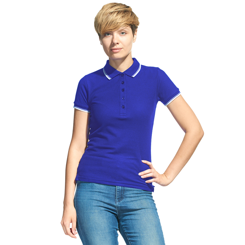 Рубашка поло с контрастной отделкой, StanTrophyWomen, 04BK, Синий (16), XS/42
