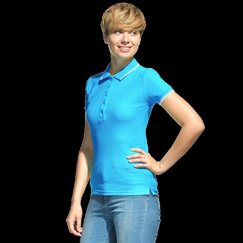 Рубашка поло с контрастной отделкой, StanTrophyWomen, 04BK, Бирюзовый (32), M/46