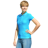 Рубашка поло с контрастной отделкой, StanTrophyWomen, 04BK, Бирюзовый (32), S/44